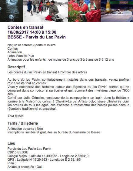 Contes en transat / Lac Pavin Été 2018